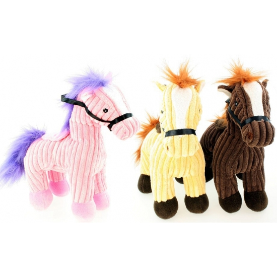Badstof roze paarden knuffel 25 cm