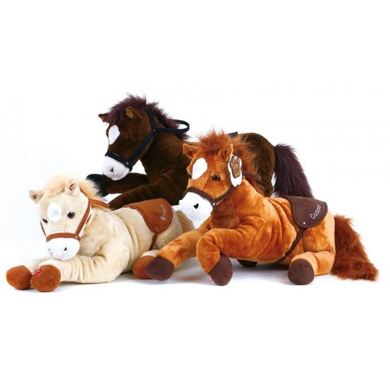 Beige paard met geluid knuffel 43 cm