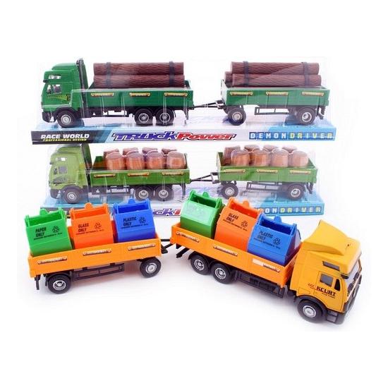 Gele vrachtwagen van plastic met afvalcontainers geladen