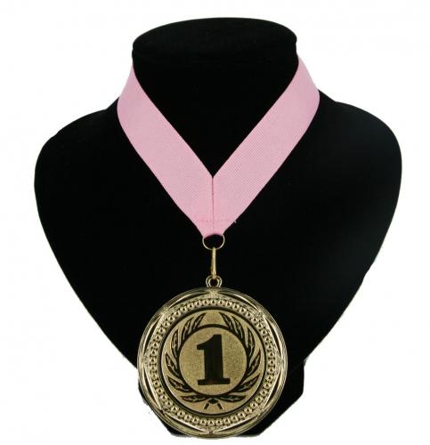 Kampioensmedaille aan roze lint. gouden medaille met nummer 1 aan een ...