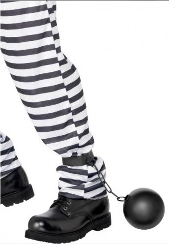 Ketting met bal voor veroordeelden/gevangenen en/of huwelijken als decoratie. materiaal: plastic.