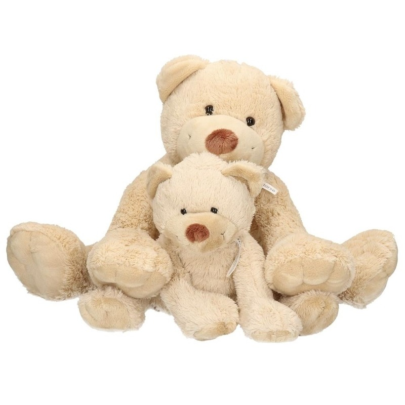 2x Boogy mama en kindje knuffelberen 35 en 24 cm