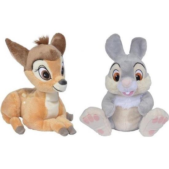 2x Disney Bambi en Stampertje knuffels 24 cm speelgoed set