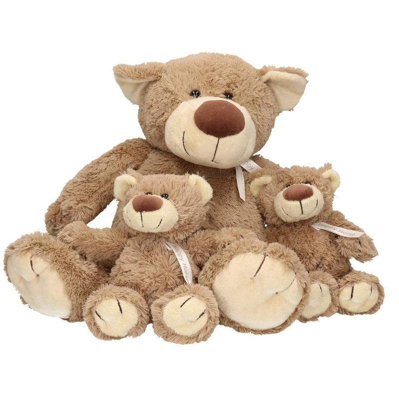 3x Bella mama en kindjes knuffelberen 40 en 22 cm