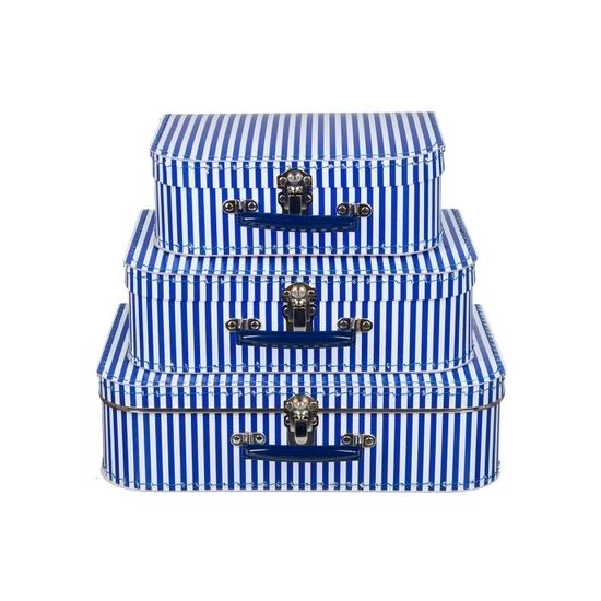 Babykamer koffertje blauw met witte strepen 30 cm