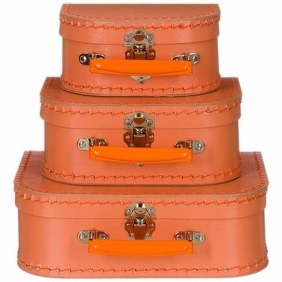 Babykamer koffertje oranje el 16 cm