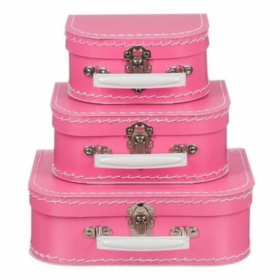 Babykamer koffertje roze el 20 cm