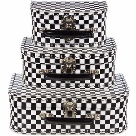 Babykamer koffertje zwart-wit geblokt 20 cm