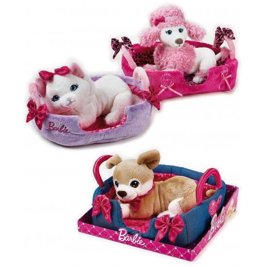 Barbie witte poedel knuffel met mandje