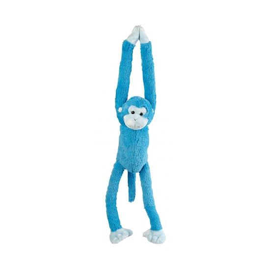 Blauw hangende knuffel aap 55 cm