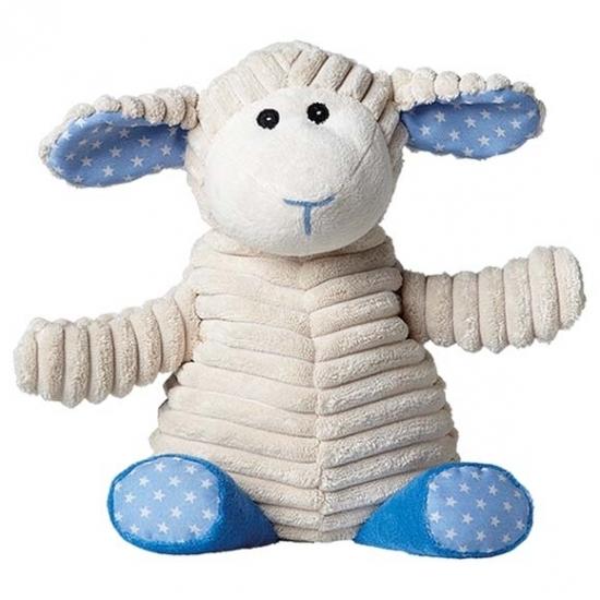 Blauw schaap knuffel kruik geboorteknuffel