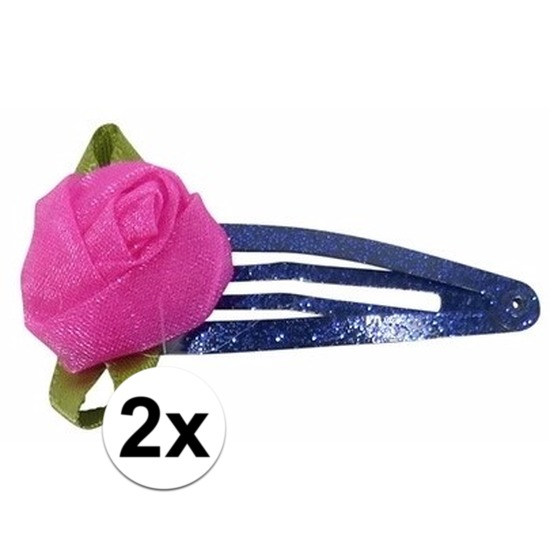Blauwe haarspeldjes met roze roos Geen Goedkoop