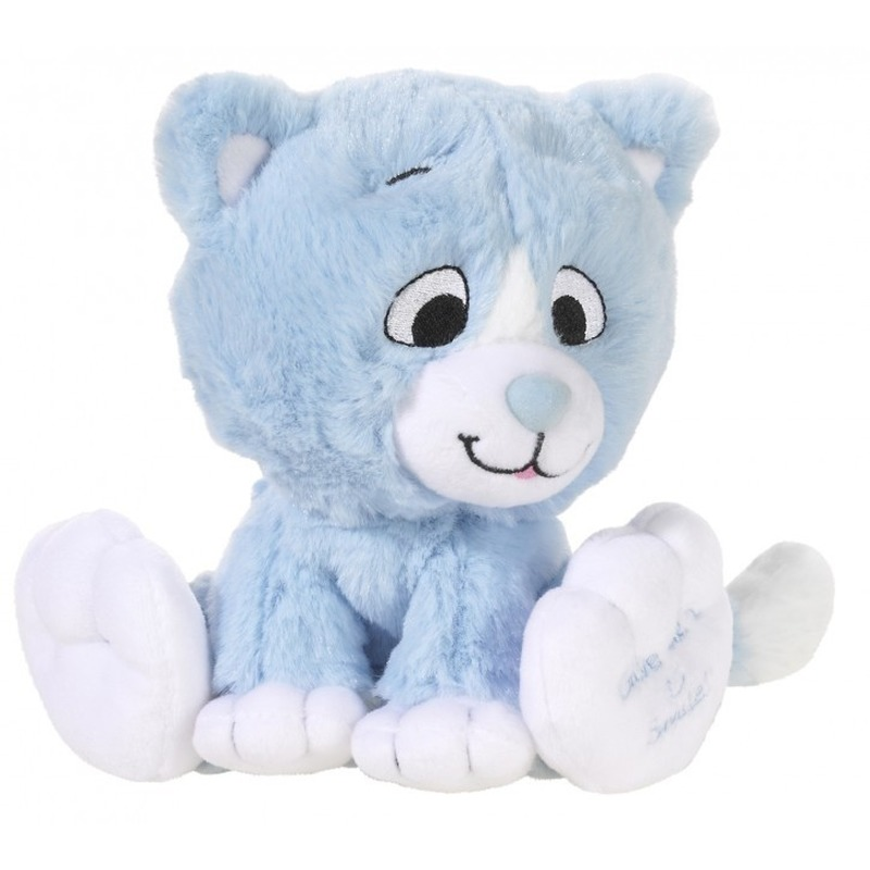 Blauwe knuffel kat/poes Give me a smile 14 cm