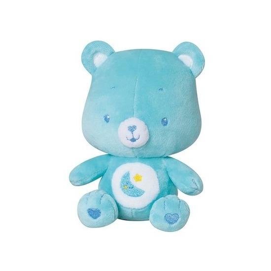 Blauwe troetelbeer knuffel met rammelaar 16 cm