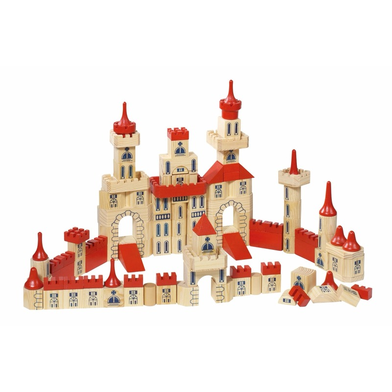 Houten speelgoed Bouwblokken kasteel in een doosje 150 delig