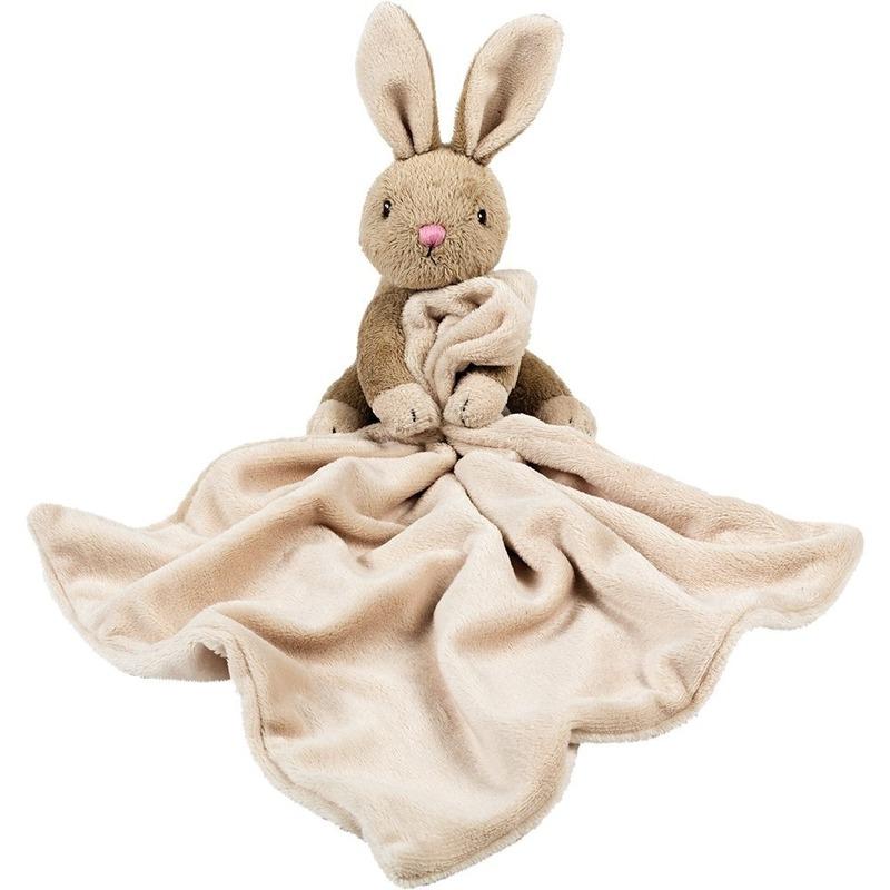 Bruine konijn/haas tuttel/knuffeldoekje 30 cm