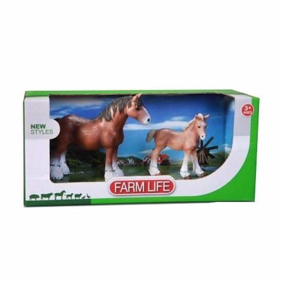 Clydesdale paard met veulen plastic Geen beste
