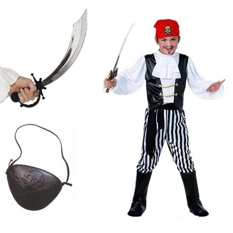 Geschiedenis kostuums Compleet piraten kostuum maat L voor kids