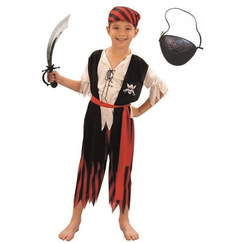 Geschiedenis kostuums Compleet piraten kostuum maat M voor kinderen