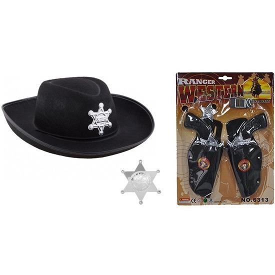 Cowboy accessoire set zwart voor kinderen Shoppartners Verkleedaccessoires