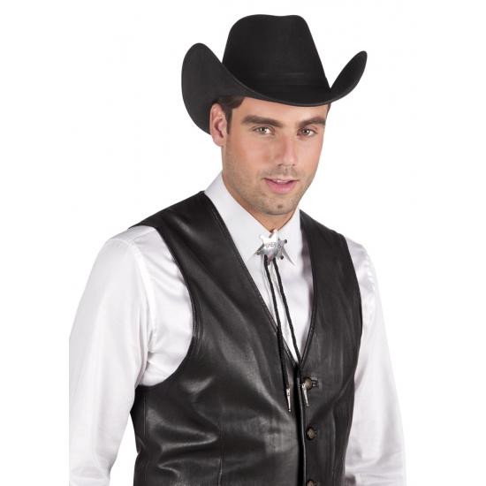 Sheriff ketting zilveren ster. leuke accessoire voor uw wilde westen verkleedset. kleur: zilver.