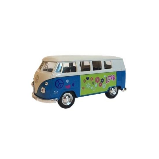 Speelgoedvoertuigen Geen Die cast Volkswagen print T 1 busje speelgoedauto blauw 15 cm