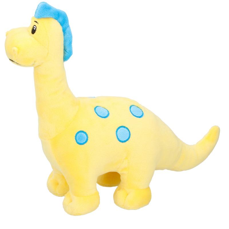 Dino knuffel Brontosaurus geel 28 cm