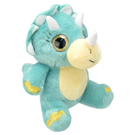 dinosaurier pluche knuffel blauw 19 cm