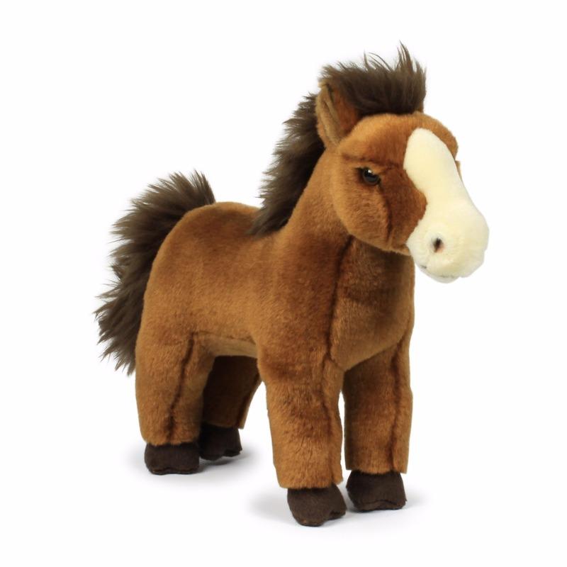 Donkerbruine paarden knuffeldier 23 cm