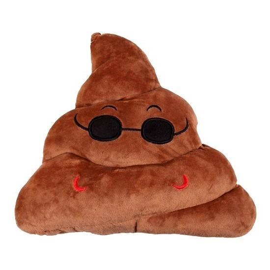 Emoticon kussen drol met zonnebril 26 x 33 cm