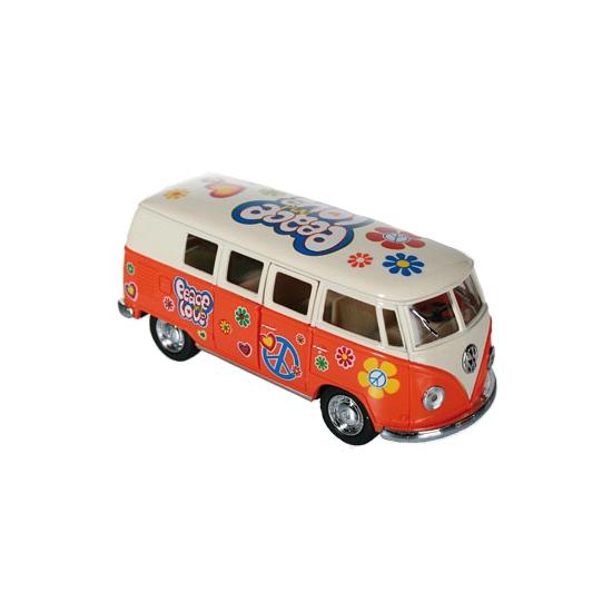 Volkswagen Flower Power modelbusje oranje Speelgoedvoertuigen