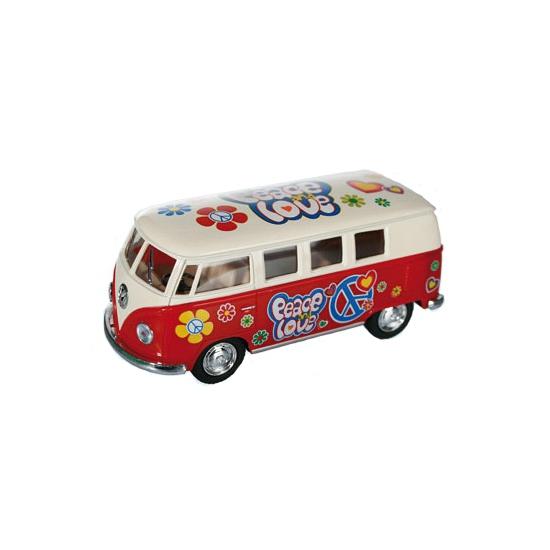 Flower Power modelbusje rode Volkswagen Speelgoedvoertuigen