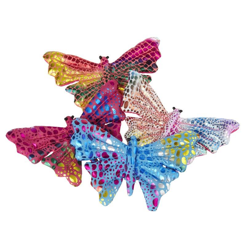 Gekleurd vlinder knuffeltje 12cm