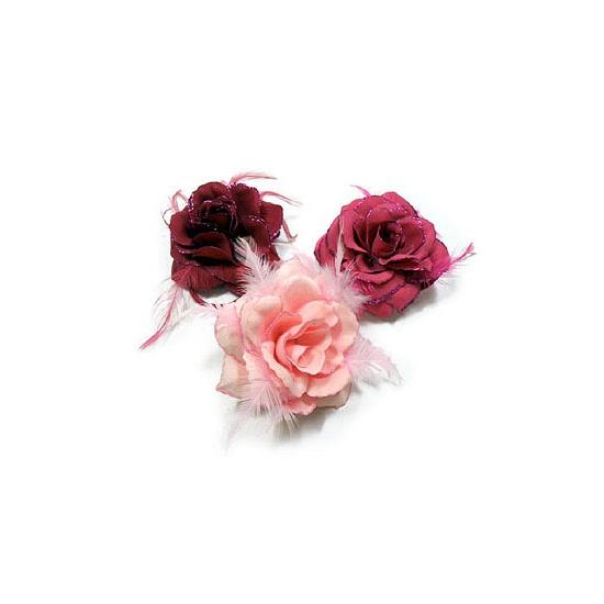 Geen Glitter roos met elastiek in roze kleuren Hawaii feestartikelen