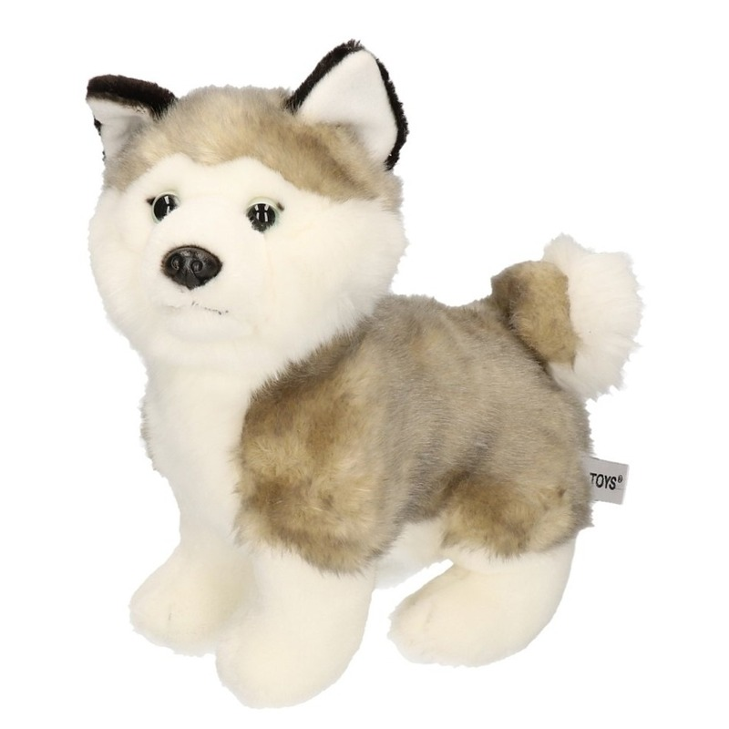 Grijs/witte Husky knuffeldier 24 cm