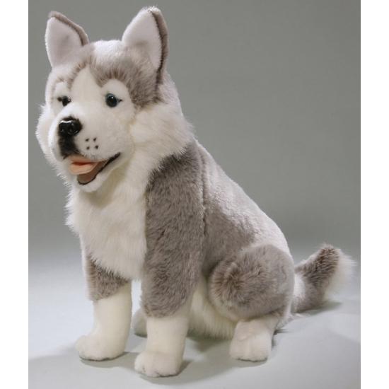 Grijs/witte Husky knuffeldier 37 cm