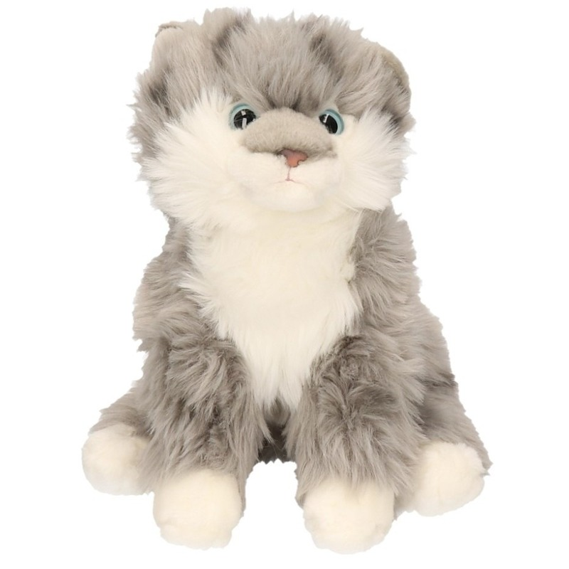 Pluche knuffel grijze tabby kat. knuffel van een grijze tabby kat. de pluche knuffel is ongeveer 27 cm groot. ...