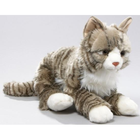 Grijze kat knuffeldier 37 cm