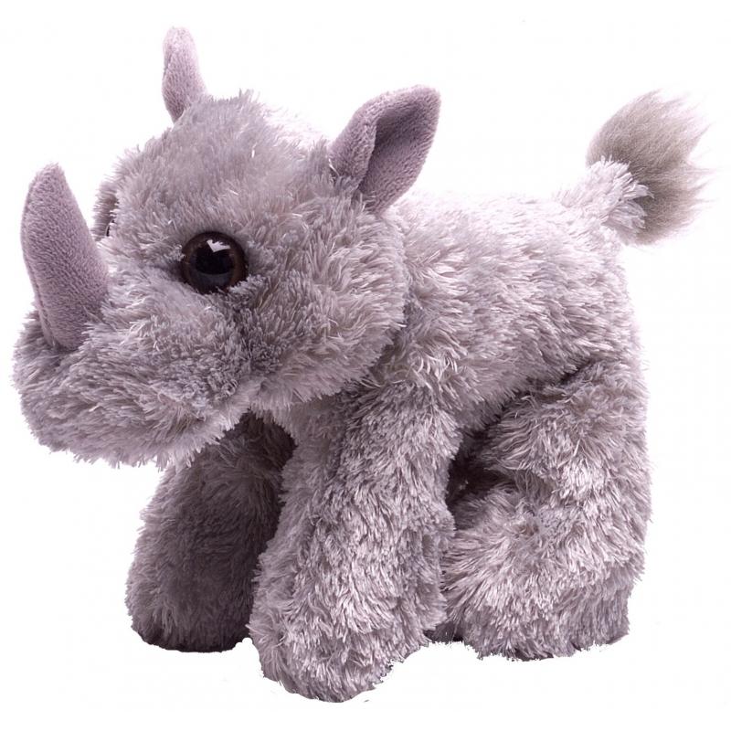 Grijze neushoorn knuffel pluche 18 cm