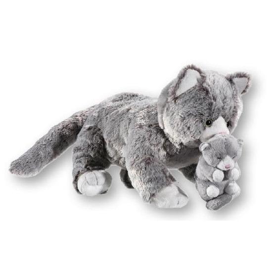Grijze pluche poes met kitten knuffel 32 cm