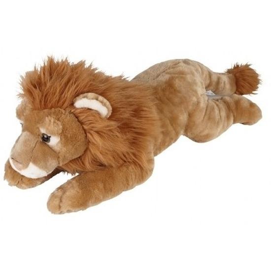 Grote pluche bruine liggende leeuw knuffel 60 cm speelgoed