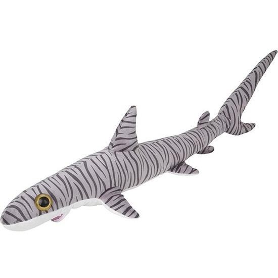 Grote pluche gestreepte tijgerhaai knuffel 110 cm speelgoed