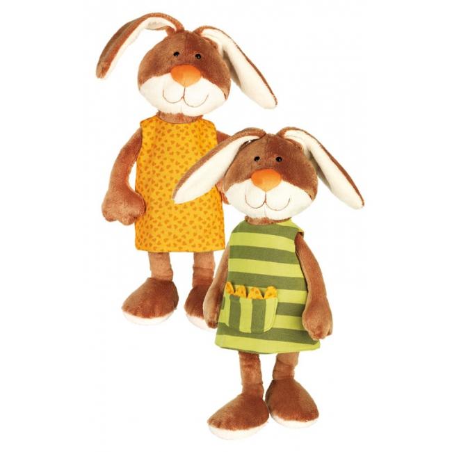 Grote pluche knuffel konijn met jurk 40 cm