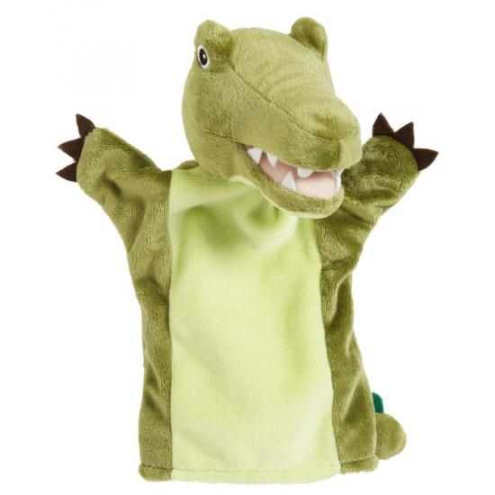 Handpop krokodilletje groen 22 cm
