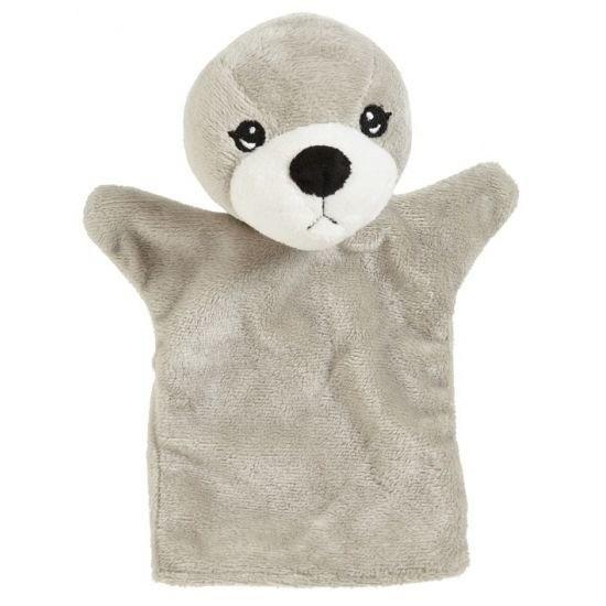 Handpop zeehondtje grijs 22 cm