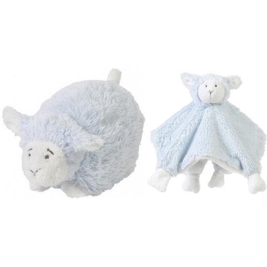 Happy Horse lammetje blauw knuffeldoekje en knuffel liggend 26cm