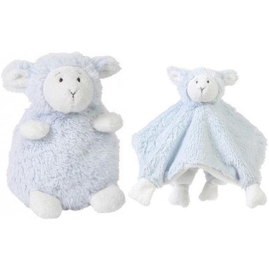Happy Horse lammetje blauw knuffeldoekje en knuffel zittend 26cm