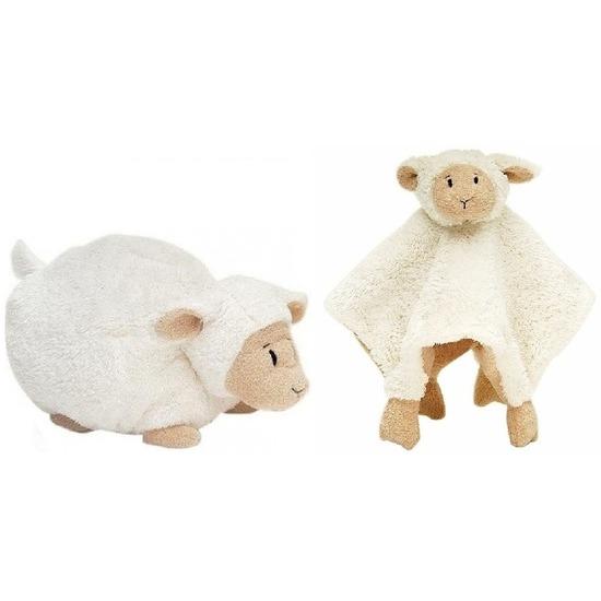 Happy Horse schaap/lammetje wit knuffeldoekje en knuffel liggend