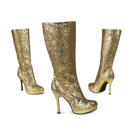 Hoge Laarzen Met Glitters Goud