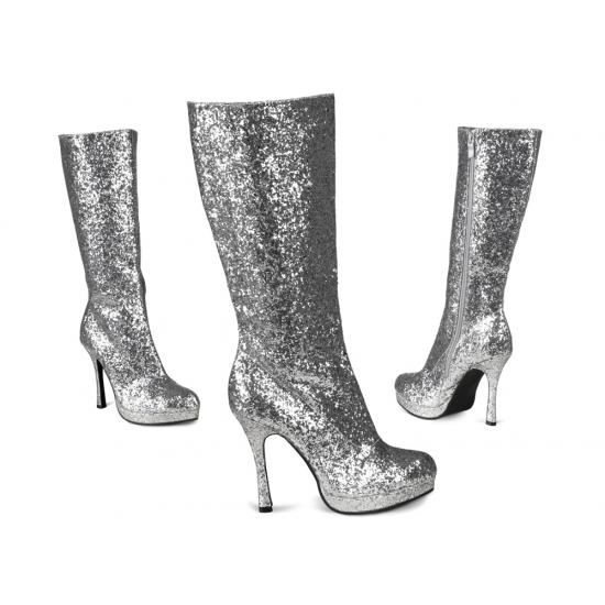Hoge Laarzen Met Glitters Zilver
